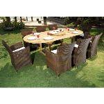 Wood-en-stock Table de jardin en teck avec 8 fauteuil en résine ronde