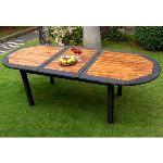 Wood-en-stock Table de jardin ovale à rallonge en teck et résine tressée 180/240 x 90 cm