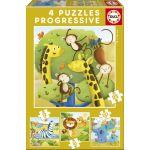 Educa 4 puzzles progressifs animaux sauvages (12 à 25 pièces)