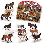 Melissa & Doug 12 figurines chevaux dans un présentoir en bois