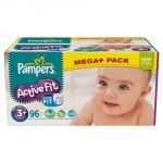 Pampers Active Fit taille 3+ Midi Plus 5-10 kg - Méga pack 96 couches