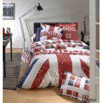 London Union Jack - Housse de couette avec taie 100% coton 57 fils (140 x 200 cm)