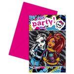 6 cartes d'invitation et enveloppes Monster High