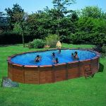 Gre KITNPOV611 - Piscine Hawaii ovale hors sol en bois 640 x 425 x 132 cm