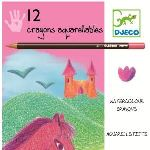 Djeco 12 crayons aquarellables spécial filles
