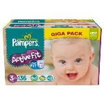 Pampers Active Fit taille 3 Midi (4-9 kg) - Giga pack x 136 couches