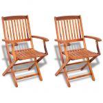 VidaXL Chaise de salle à manger d'extérieur en bois d'acacia 2 pièces