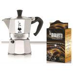 Bialetti 5965 - Coffret cafetière italienne 3 tasses + 250g de café Moka Express