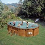 Gre KIT500W - Piscine Pacific ovale hors sol aspect bois 500 x 300 x 120 cm