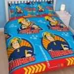 Character World Parure de lit double réversible Sam le Pompier Brave (200 x 200 cm)