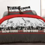 Vision New York Rouge - Housse de couette et 2 taies 100% coton 57 fils (220 x 240 cm)