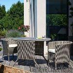 DCB Garden Table de jardin en résine tressée avec 2 fauteuils encastrables
