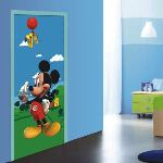 """Poster géant papier peint """"Mickey Mouse et Pluto"""" (90 x 202 cm)"""