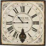Horloge ancienne balancier carré Château (60 cm)