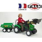 Falk / falquet Tractopelle à pédales Farm Mustang 950X avec remorque basculante double essieux