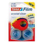 Tesa 2 rouleaux adhésifs Cristal Clear avec un mini dévidoir (19 mm x 10 m)