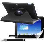 Kwmobile 16170 - Housse en cuir 360° Premium avec fonction support, film de protection et stylet pour Asus Memo Pad FHD 10 ME302C et ME302KL