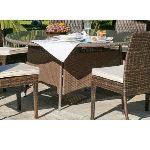 Indoor-outdoor Table de jardin ronde Tatiana en résine plate tressée et plateau en verre Ø150 x 75 cm