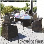 DCB Factory Table de jardin ovale Djerba en résine tressée 200 x 115 x 76 cm