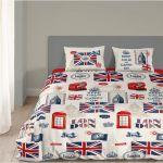 Good Morning London - Housse de couette et 2 taies 100% coton (200 x 200 cm)
