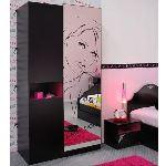Armoire Lolita 2 portes avec miroir sérigraphié