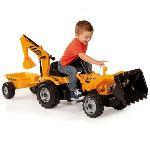 Smoby Tracteur à pédales Builder Max avec remorque et pelle