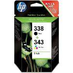 HP SD449EE - Pack de 2 cartouches d'encre n°338 noire et n°343 3 couleurs