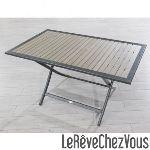 DCB Garden Table de jardin rectangulaire pliante aluminium et  bois composite 140 x 80 x 73 cm
