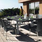 Grosfillex Table de jardin rectangulaire Ineo 240 en métal et composite 160/240 x 120 x 72 cm