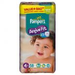 Pampers Active Fit taille 4 Maxi (7-18 kg) - 58 couches