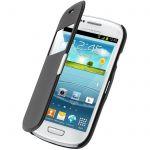 Avizar FOLIO-FLIP-MAG-BK-S3MI - Étui à fenêtre pour Samsung Galaxy S3 Mini I8190 + Chiffonnette