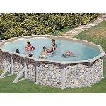 Gre KIT500P - Piscine Iraklion ovale hors sol en acier aspect pierre 500 x 300 x 120 cm