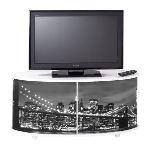 Meuble TV avec rideau imprimé New York