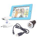 Duragadget Kit de Charge rapide et Allume-Cigare Mini USB 3 en 1 pour Tablette Lexibook Mfc155fr