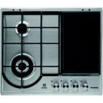 Electrolux EGH6349GOX - Table de cuisson gaz 2 foyers + zone grill-plancha