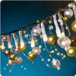 Guirlande lumineuse LED avec perles déco blanc rosé