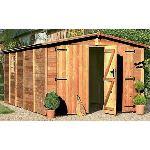 Chalet et Jardin Albatros - Garage en bois de sapin traité 17 mm avec double porte 14,53 m2
