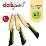 Dailycious 3 couteaux Titanium en céramique avec fourreaux de protection (10 cm)