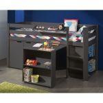Vipack Lit Pino mezzanine, bureau, bibliothèque et commode 2 portes pour enfants