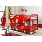 Someo Lit superposé Pompier Truck pour enfant 90 x 200 cm