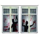 Décoration de fenêtre Halloween : scène de crime