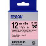 Epson LabelWorks LK-4PBK - Ruban satin noir sur rose (1,2 cm x 5 m)