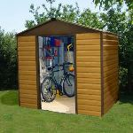 Yardmaster 86WGL - Abri de jardin en métal aspect bois 4,04 m2