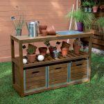 Jardipolys Choko - Table de préparation en bois teintée brun