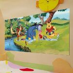 Poster géant Winnie l'Ourson Baignade Disney