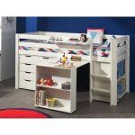 Vipack Lit Pino mezzanine, bureau, bibliothèque et commode 4 tiroirs pour enfant
