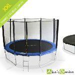 Alice's Garden Trampoline 370 cm avec filet de sécurité de 1,80 m, bâche de protection et échelle