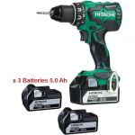 Hitachi DS18DBSL5AX3 - Perceuse visseuse 18V 5.0Ah Li-Ion 3 batteries, chargeur, coffret