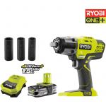 Ryobi One+ R18IW3-L15S - Boulonneuse à chocs 18V + batteries lithium+ 1.5 Ah
