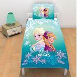 Elsa et Ana La Reine des Neiges - Housse de couette et taie 100% coton (140 x 200 cm)